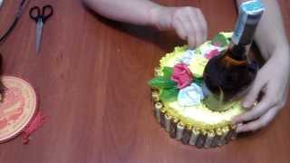 getlinkyoutube.com-Как украсить бутылку коньяка. Букет из конфет.