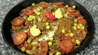 getlinkyoutube.com-سمك بالفرن / صينية سمك بالخضار / لاطة الحوت مع طبخ ليلى recette marocaine de poisson