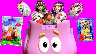 getlinkyoutube.com-Dora Backpack Surprise Kinder Eggs PeppaPig MyLittlePony MonsterHigh Disney Frozen Shopkins2