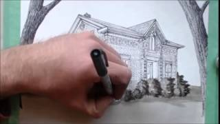 getlinkyoutube.com-Drawing an Ontario Farm House - Pen and Ink, Time Lapse