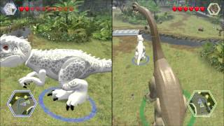 getlinkyoutube.com-LEGO Jurassic World - Indominus Rex vs Brachiosaurus - CoOp Fight | Free Roam Gameplay [HD]