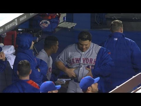 Bartolo Colon celebrates by shaking his belly