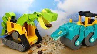 getlinkyoutube.com-ДИНОТЕХНИКА. Каток и погрузчик. Интересные игрушки для детей. Играть весело с каналом Умные Дети ТВ!