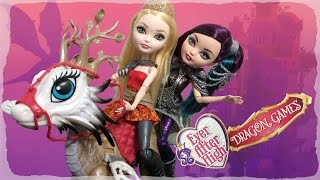 getlinkyoutube.com-Dragon Games Apple White Dragonrider Review & Raven Queen | Ever After High New Dolls