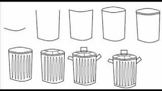 how to draw a trash garbage can simple step by step drawing
