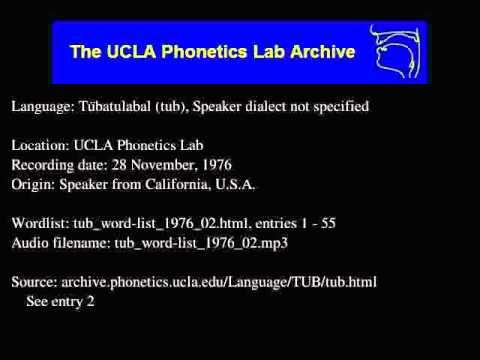 Tübatulabal audio: tub_word-list_1976_02