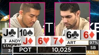 This Will Shock You! WPT Winner Art Papazyan In Tough Spot With Flopped Set ♠ Live at the Bike!