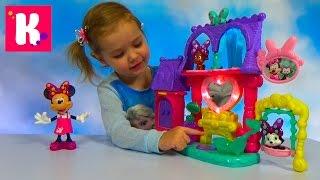 getlinkyoutube.com-Минни Маус зоосалон домик с ванной и кошечкой с собачкой Set Minnie Mouse pets saloon unpacking toys