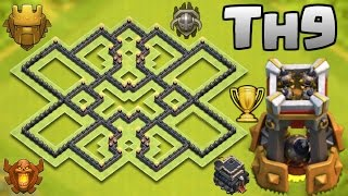 getlinkyoutube.com-NEW BEST TOWN HALL 9 (TH9) TROPHY BASE WITH BOMB TOWER | CLASH OF CLANS