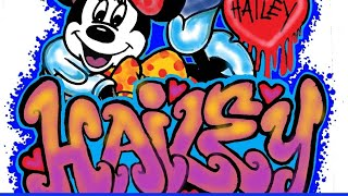 getlinkyoutube.com-How to draw graffiti name ''HAILEY'' with Minnie Mouse - (N-ter -- Transmission).