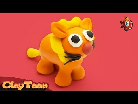 Funny Lion - Polymer clay tutorial | أسد ظريف - تشكيل صلصال للأطفال