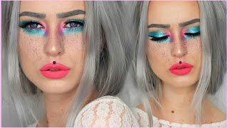 getlinkyoutube.com-Neon Color Splash Makeup Fun | Evelina Forsell