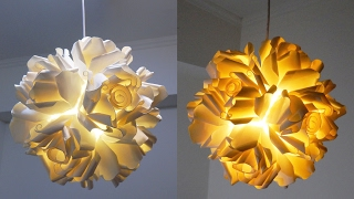 getlinkyoutube.com-Paper cup rose pendant DIY - how to make a hanging light from paper cups - EzyCraft