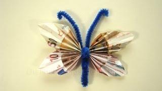Geldscheine falten: Schmetterling für Geldgeschenke