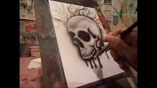 getlinkyoutube.com-Aerografia Caveira passo a passo Skull Airbrush
