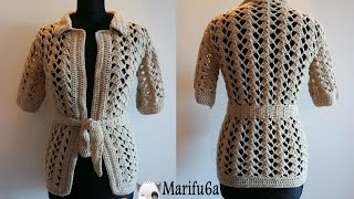 getlinkyoutube.com-How to crochet beige jacket free tutorial pattern by marifu6a