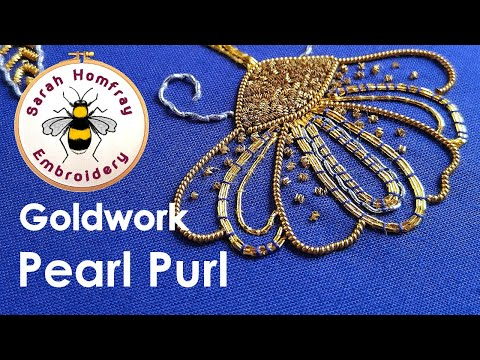Goldwork embroidery tutorial. Part 2 - Applying Pearl Purl