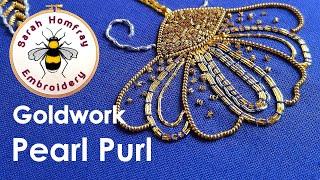 getlinkyoutube.com-Hand Embroidery - Goldwork tutorial. Part 2 - Applying Pearl Purl
