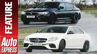 DRIFT OFF! Mercedes-AMG E 63 S takes on BMW M5 in smokey sideways challenge