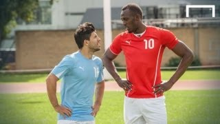 getlinkyoutube.com-Usain Bolt speeds up Aguero ahead of Manchester derby