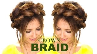 getlinkyoutube.com-Pull-Through CROWN BRAID UPDO Hair Tutorial  ★ Easy Braids HAIRSTYLES