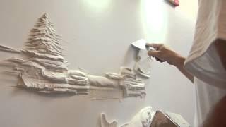 getlinkyoutube.com-Drywall Art Sculpture  النحت على الجدران بطريقة الجبس المباشر فعلا روعة
