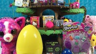 getlinkyoutube.com-Beanie Boos Shopkins Zelfs Unicornos Play-Doh Surprise Eggs Blind Bag Treehouse Unboxing