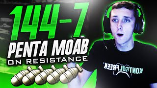 INSANE 144-7 PENTA MOAB ON RESISTANCE! (5 MOABS 1 Game!)