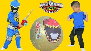getlinkyoutube.com-Power Rangers Dino Charge Super Giant Toys Surprise Egg Opening Ckn Toys