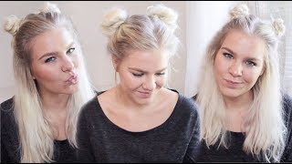 getlinkyoutube.com-Space Buns In 3 Different Ways • Back To School Hairstyles | ShinyLipsTv