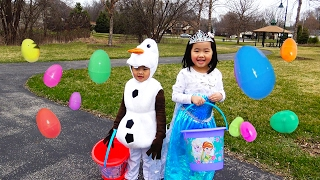 getlinkyoutube.com-HUGE Easter Eggs Hunt with Frozen Elsa Olaf, Thomas and Friends, Disney Cars, Peppa pig, Shopkins