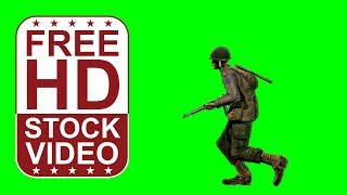 getlinkyoutube.com-FREE game assets – WWII private soldier running on green screen – seamless loop