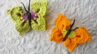 getlinkyoutube.com-Объемная бабочка Volumetric butterfly crochet