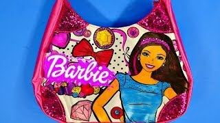 getlinkyoutube.com-Barbie Fashion Purse Color N' Style Activity Design With Markers & Gems Disney Cars Toy Club