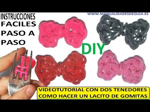 COMO HACER LACITOS DE GOMITAS (LIGAS) CHARMS CON DOS TENEDORES. VIDEO TUTORIAL DIY.