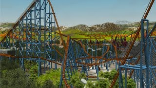 getlinkyoutube.com-RCT3 Goliath 6 Flags Magic Mountain Roller Coaster Tycoon 3 Recreation Largest Park Ride HD POV