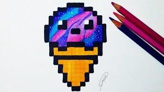 getlinkyoutube.com-Kawaii Ice Cream Pixel Art - Galaxy Drawing
