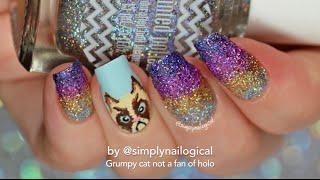 getlinkyoutube.com-Grumpy cat and holo glitter gradient nail art