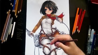 getlinkyoutube.com-Drawing Mikasa Ackerman from Attack on Titan (Shingeki no Kyojin)