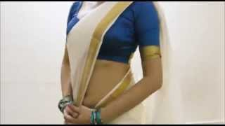 getlinkyoutube.com-White Kerala Saree Wearing Style Tips:South Sari Draping(Hot Innovation)