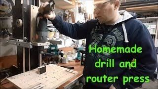 getlinkyoutube.com-Homemade drill and router press. General review