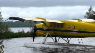 getlinkyoutube.com-Ignace DHC-3 Otter take-off from Agimak Lake