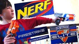 getlinkyoutube.com-Robert-Andre's Nerf N-Strike Elite Firestrike and Strongarm Blaster Reiew!