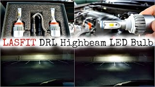 Full Review Installation And Demo LASFIT 72W LED DRL 9005 Highbeam Bulb