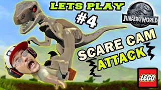 getlinkyoutube.com-Lets Play LEGO Jurassic World Part 4: RAPTOR SCARE CAM ATTACK!  (RESTORE POWER LEVEL GAMEPLAY)