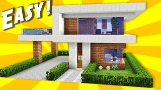 getlinkyoutube.com-Minecraft: Simple & Easy Modern House / Mansion Tutorial / How to Build #10 + Interior