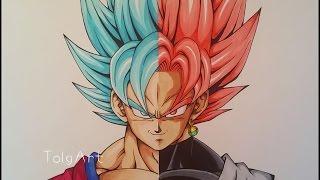 getlinkyoutube.com-Drawing Goku vs Black Goku | Super Saiyan Blue vs Rose | TolgArt | 40 K Subs