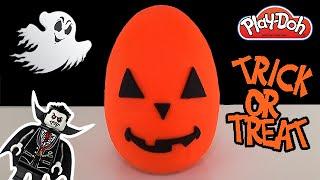getlinkyoutube.com-Giant Halloween Pumpkin Play Doh Surprise Egg - Lego - My Little Pony - Shopkins -  Unicorno