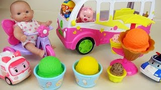 Ice Cream Bus shop with Baby Doll Pororo and Robocar Poli car toys play
