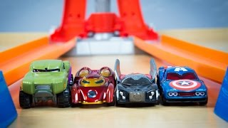 getlinkyoutube.com-Avengers Hot Wheels Thor Hulk Captain America Iron Man Toy Cars